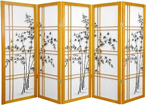 Oriental Furniture 4 ft. Tall Bamboo Tree Shoji Screen – Honey – 5 Panels