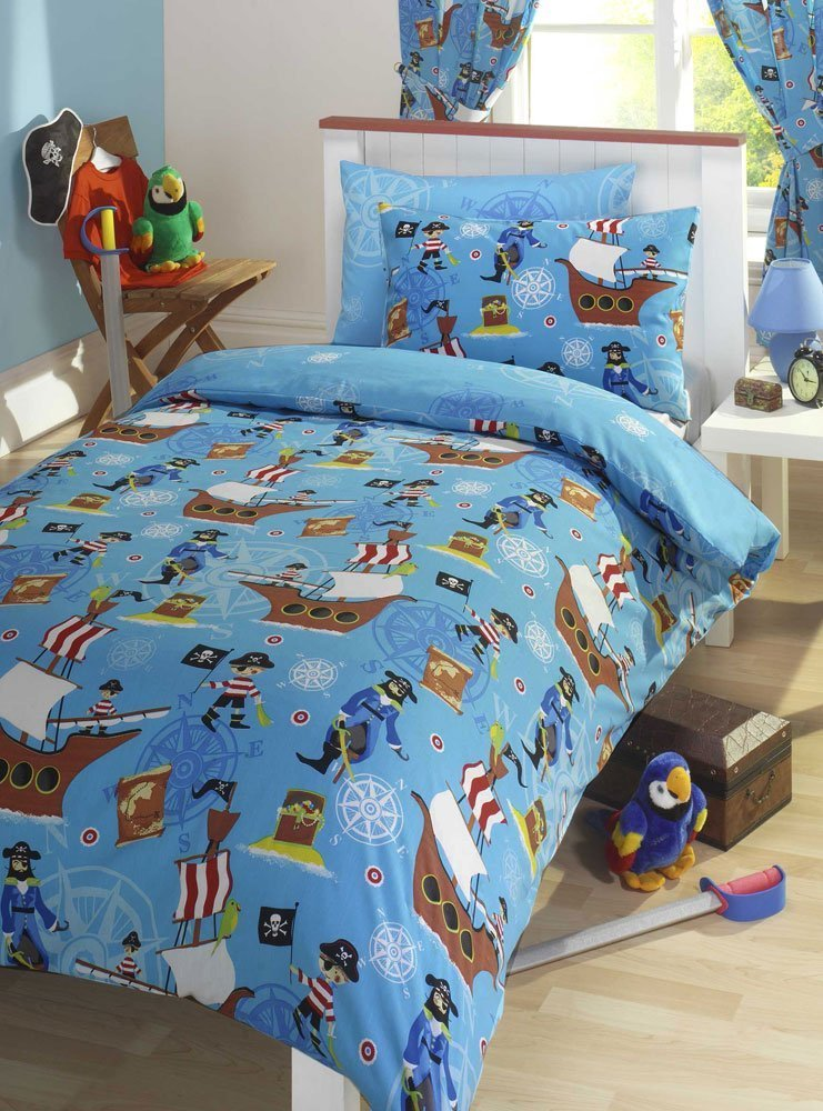 Pirate Blue Junior Toddler Bed Size Duvet Cover & Pillowcase Set ... : bed quilts uk - Adamdwight.com