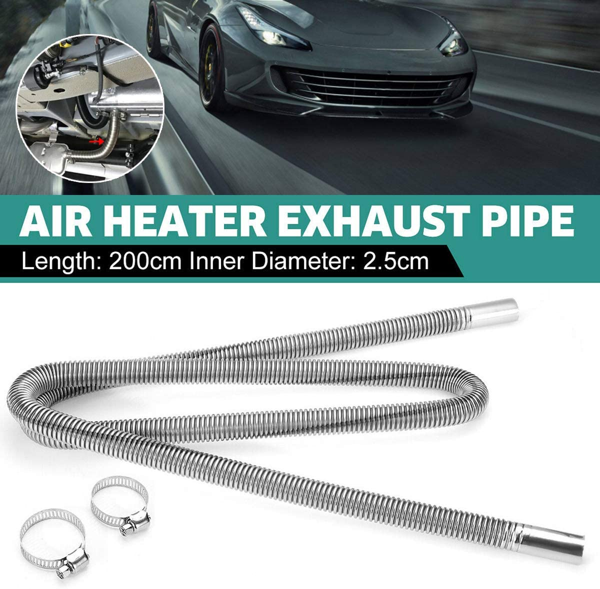 1 inch Stainless Steel Exhaust Pipe Parking Air Heater Fuel Tank Diesel Gas Vent Hose
