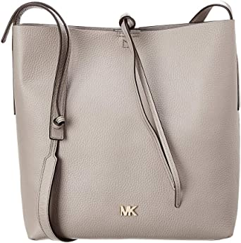 MICHAEL Michael Kors Junie Large Pebbled Leather Messenger Pearl Grey