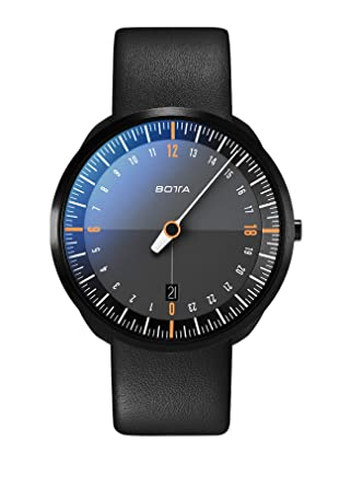 BOTTA Design UNO 24 Titan Montre 24H Mono Aiguille Homme Analogique Quartz avec Bracelet en Cuir 420000 (40 mm, Black Edition/Orange): Amazon.fr: Montres