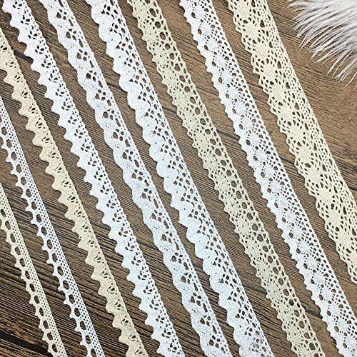 Cotton Ribbon Vintage Lace Trims Bridal Wedding Scalloped Edge Crochet Lace DIY Sewing Craft Supply 18 Yards Assorted ( 2 Yard Each) (Ivory Lace Ribbon)
