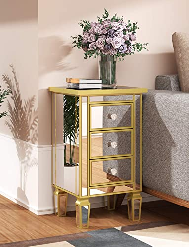 Mirrored Side Table with 3 Drawer – Golden Edging Accent End Table Nightstands Bedside Table for Living Room, Bedroom, Entryway, Office
