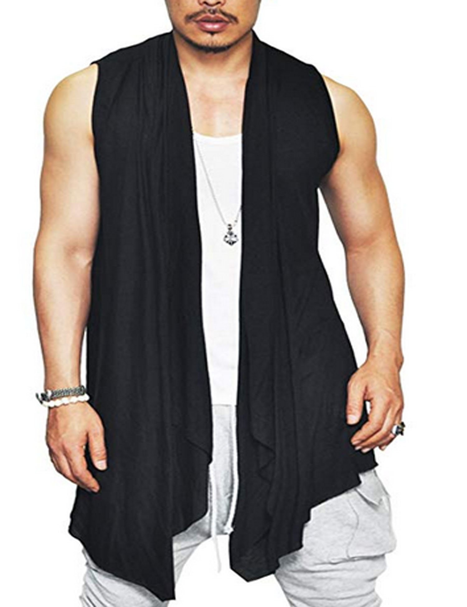 Edited Mens Casual Shawl Collar Open Front Sleeveless Ruffle Cotton Lightweight Long Cardigan Vest