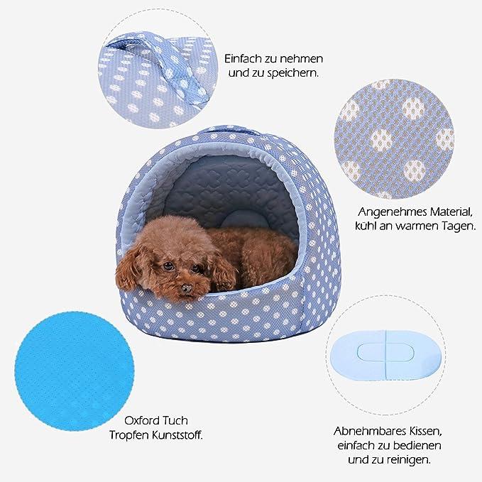 Pawz Road - Cueva para perro, refrigerante, antideslizante, cojín para mascota, Oxford, para dormir, cama para perros pequeños, gatitos, animales pequeños, ...