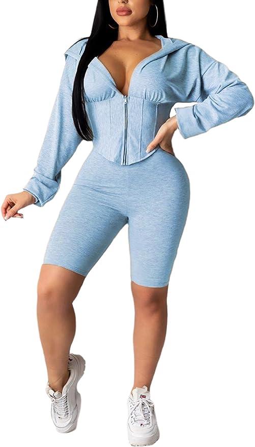 Pants Outfit Ladies Casual Sweatshirt Coat HHoo88 Women 2Pcs Set Zipper Hooded Sweatshirt Sweatpants Tracksuits Sets