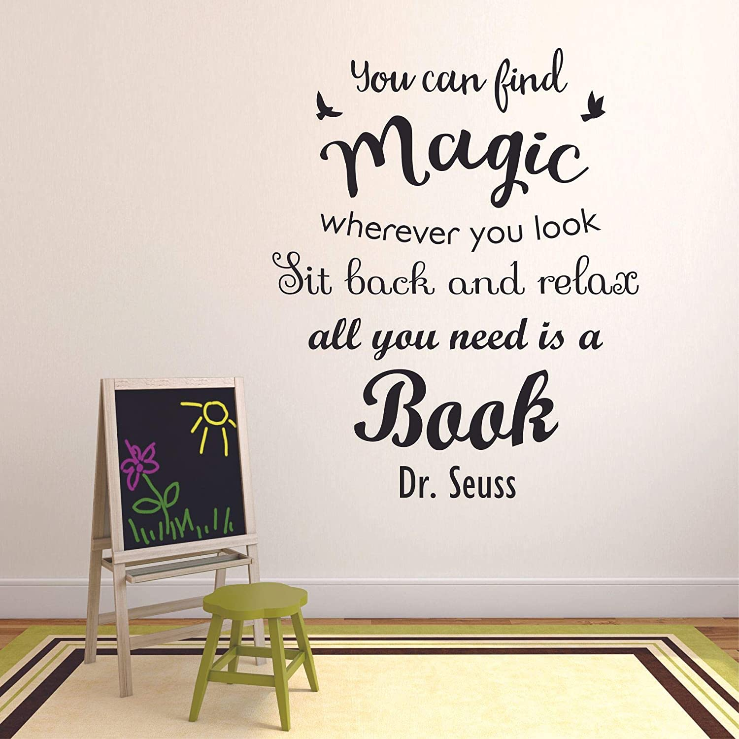 Book Reading Dr. Seuss Motivation Quotes Wall Sticker Vinyl Decal for Girls Boys Kids Library Bedroom Nursery Daycare Kindergarten Story Home Decor Sticker Wall Art Vinyl Decoration Size (20x18 inch)