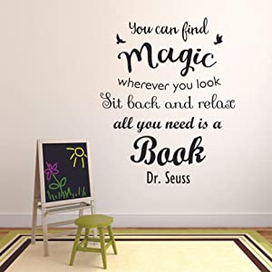 Book Reading Dr. Seuss Motivation Quotes Wall Sticker Vinyl Decal for Girls Boys Kids Library Bedroom Nursery Daycare Kindergarten Story Home Decor Sticker Wall Art Vinyl Decoration Size (10x8 inch)