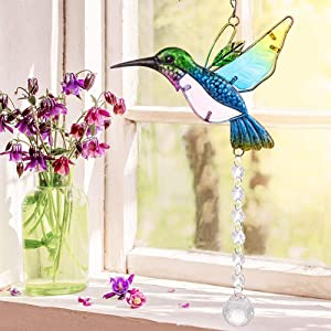 Stained Glass Window Hangings Hummingbird Sun Catcher Crystals Window Suncatcher Clear Crystals Ball Prisms with Hummingbird Ornament Outdoor Garden Decoration Gift for Hummingbird Lovers (Blue)