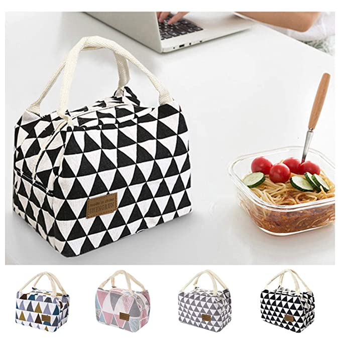 Insulated Bag Tote For Women Kids Men Canvas Thermal Cooler Food Box Lunch Bags