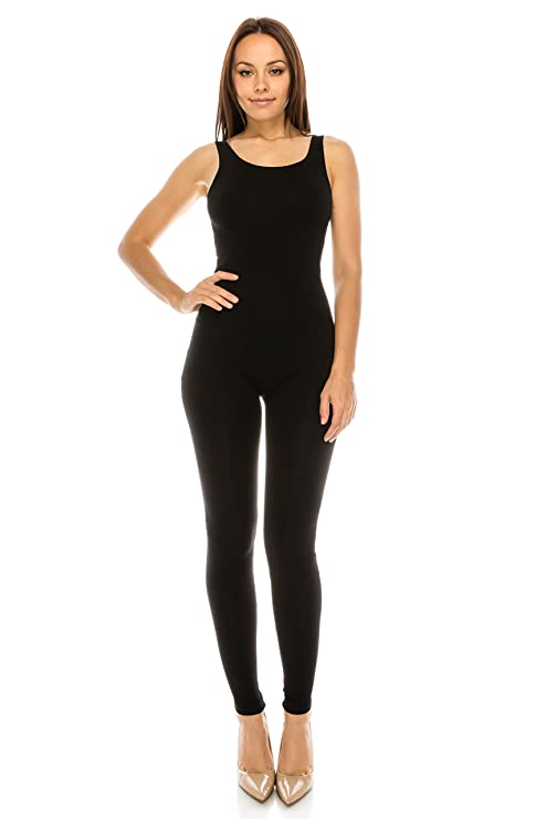 1d5b751657 Amazon.com  CNC STYLE Women Active Plus n Regular Size Cotton Stretch Scoop  Neck Sleeveless Tank Yoga One Piece Jumpsuit Unitard Bodysuit  Clothing