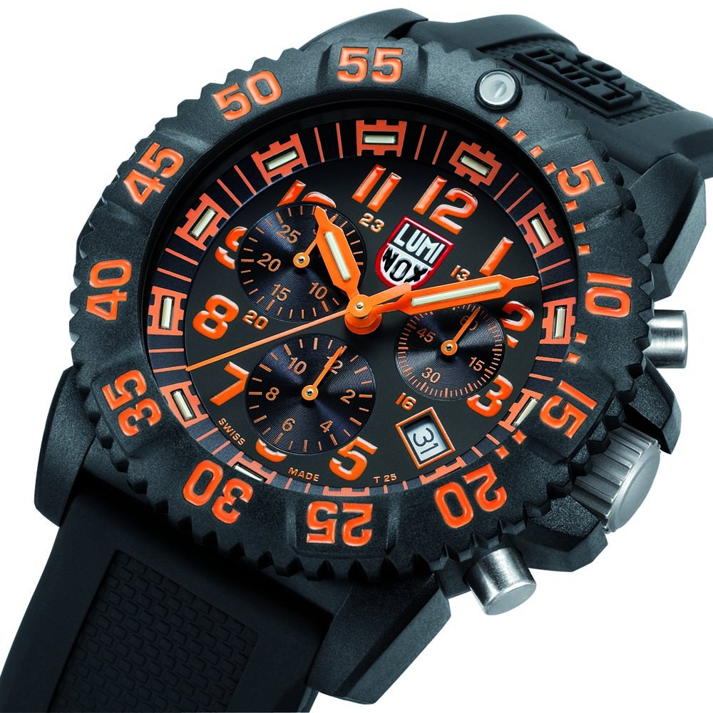 Luminox Men's 3089 Navy Seal Colormark Chronograph 3080 Series Black Chronograph Rubber Band, Orange Accents Watch by Luminox (Image #5)