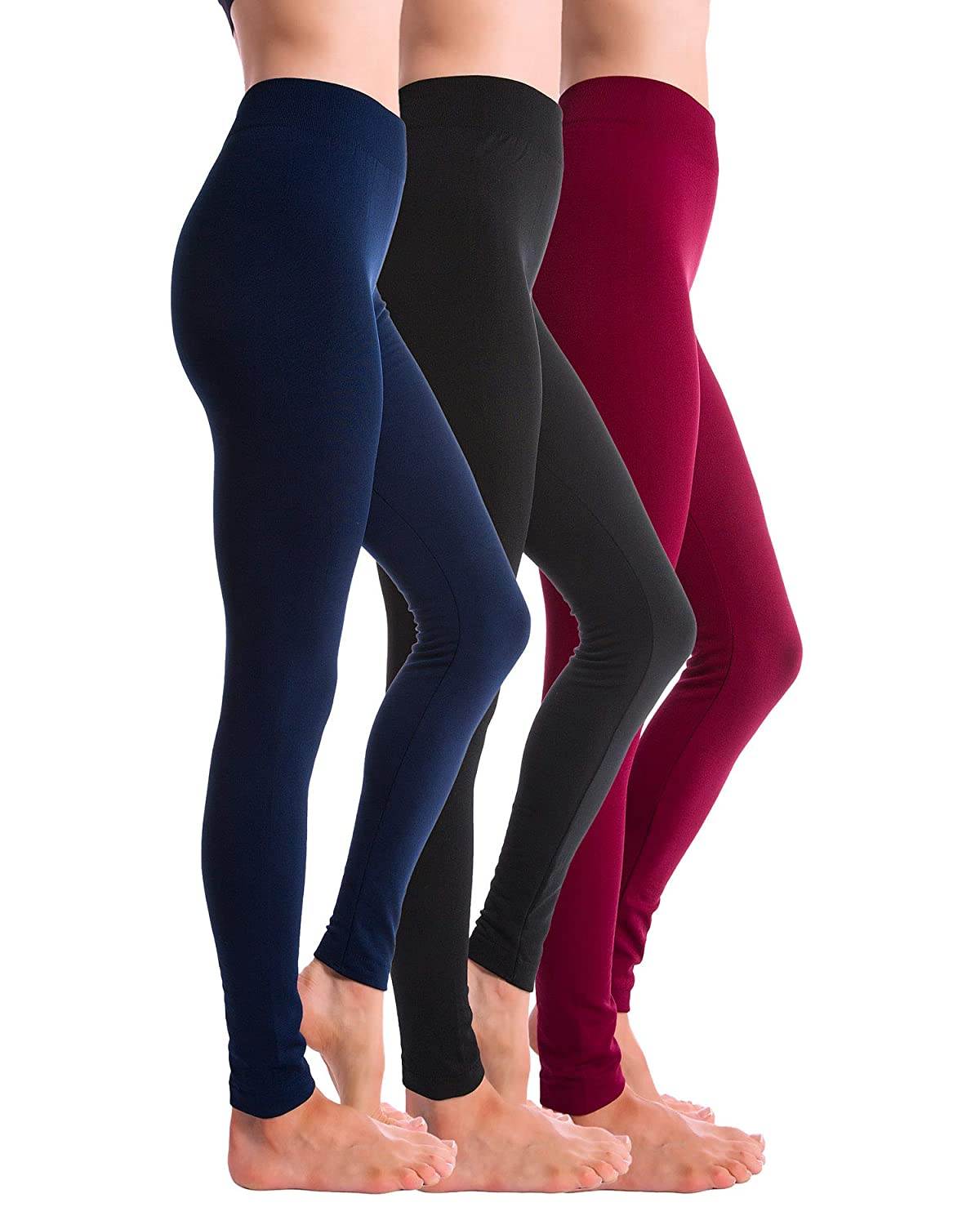 Black Navy Burgundy Homma 3Pack Fleece Lined Thick Brushed Leggings Thights
