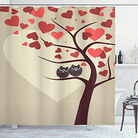 Amazon Com Ambesonne Owls Shower Curtain Owl Couples Sitting On Branch Valentine Tree Valentines Day Anniversary Artwork Cloth Fabric Bathroom Decor Set With Hooks 70 Long Red Brown Ivory Home Kitchen