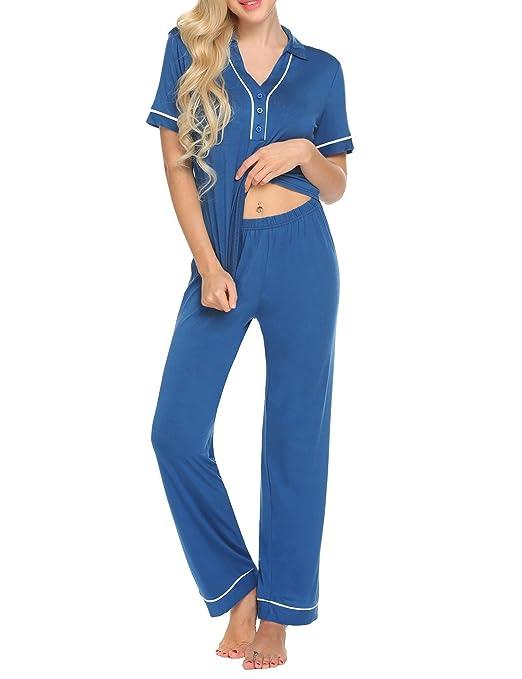 Ekouaer Pajamas Womens V-Neck Striped/Solid Short Sleeve Sleepwear Soft PJ Set with Pockets (S-XXL) at Amazon Womens Clothing store: