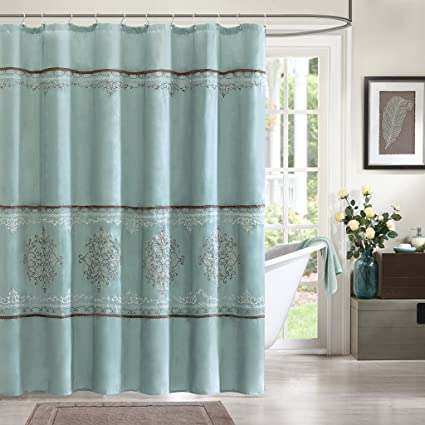 Madison Park MP70 1067 Brussel Shower Curtain 72x72quot Seafoam Blue