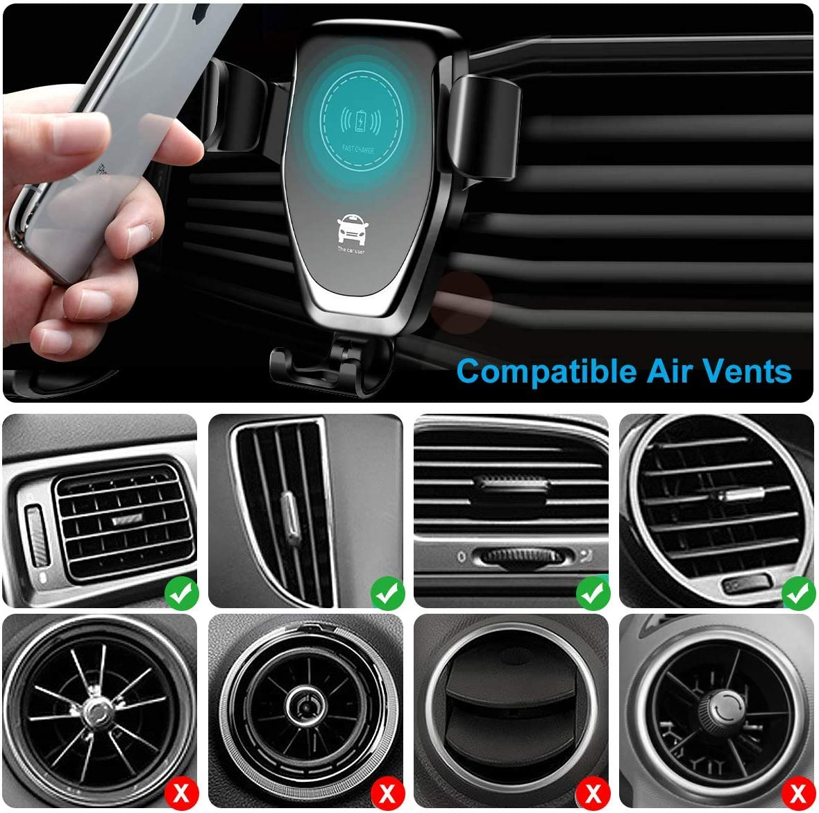 Black Samsung S10//S10+//S9//S9+//S8//S8+,All Qi-Enabled Phones AHUTORU Wireless Car Charger,10W//7.5W Qi Fast Charging,Car Air Vent Mount Phone Holder Gravity,Compatible with iPhone Xs MAX//XS//XR//X//8//8+