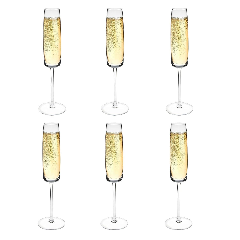 Argon Tableware Estilo Champagne Flute Crystal Glasses - Box of 6-155ml (5.5oz)