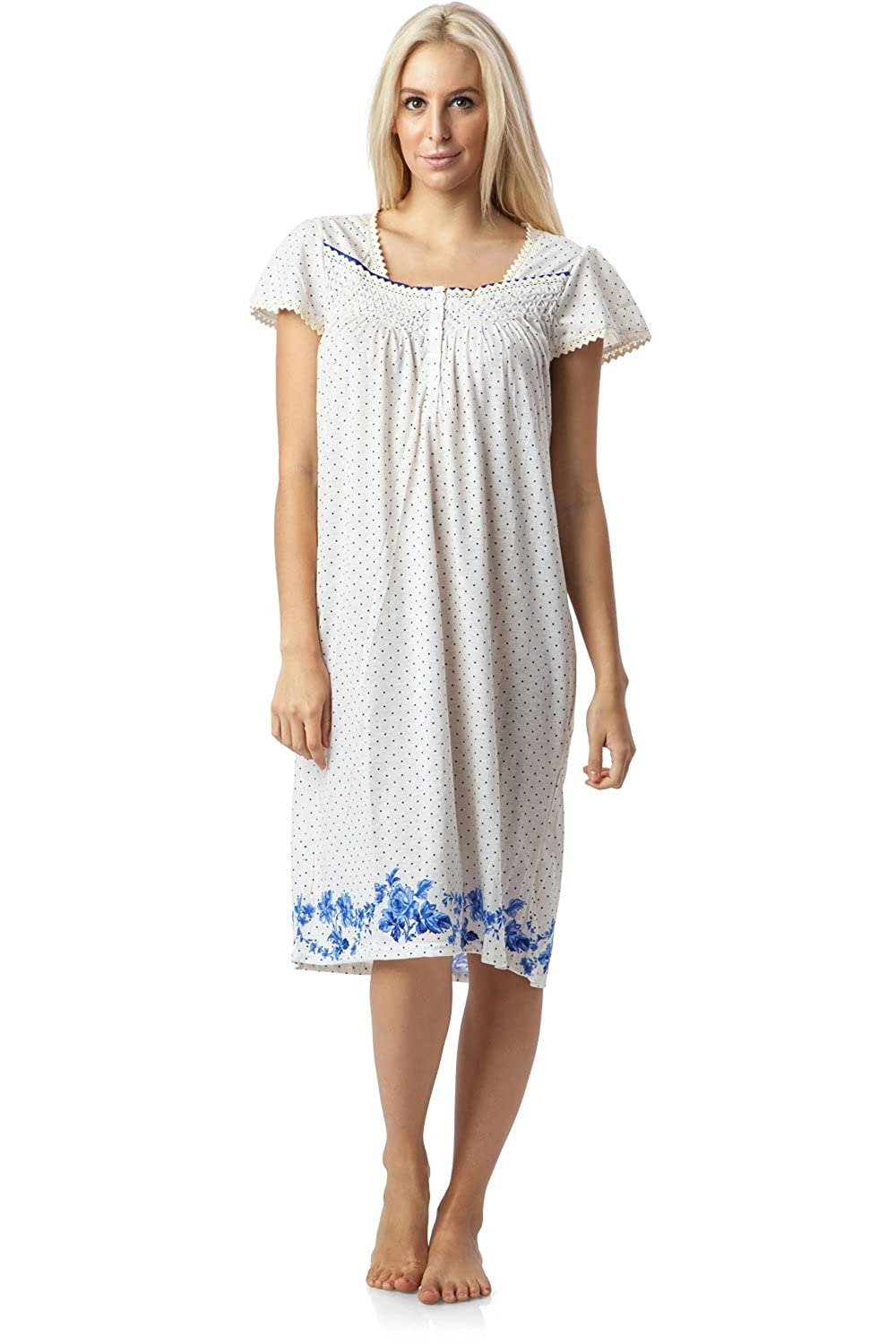 Casual Nights Women's Square Neck Cap Sleeves Floral Lace Nightgown Cap Sleeves Nightgown