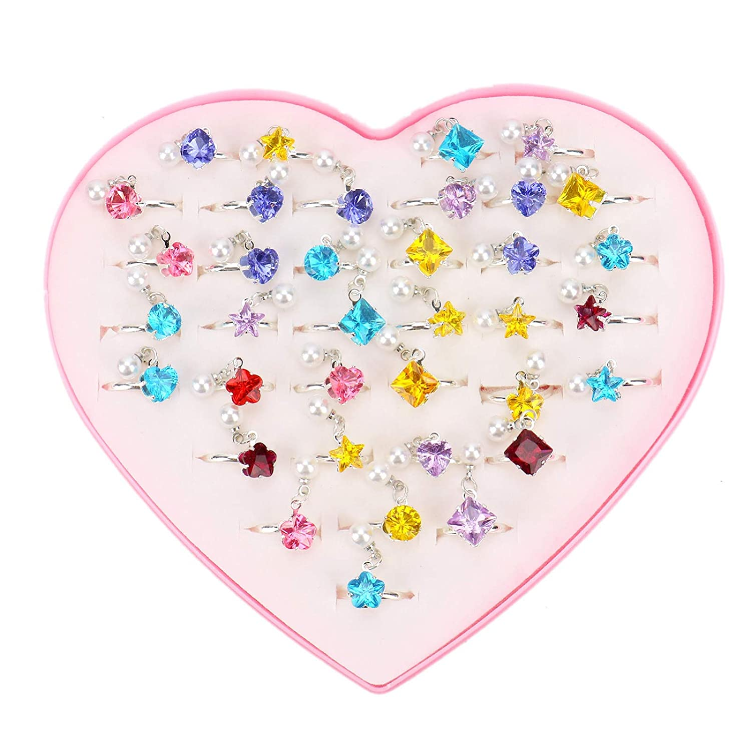 WSSROGY 36Pcs Adjustable Jewelry Rings in Heart Shaped Box for Princess Pretend Play and Dress up Mixed Patterns and Color