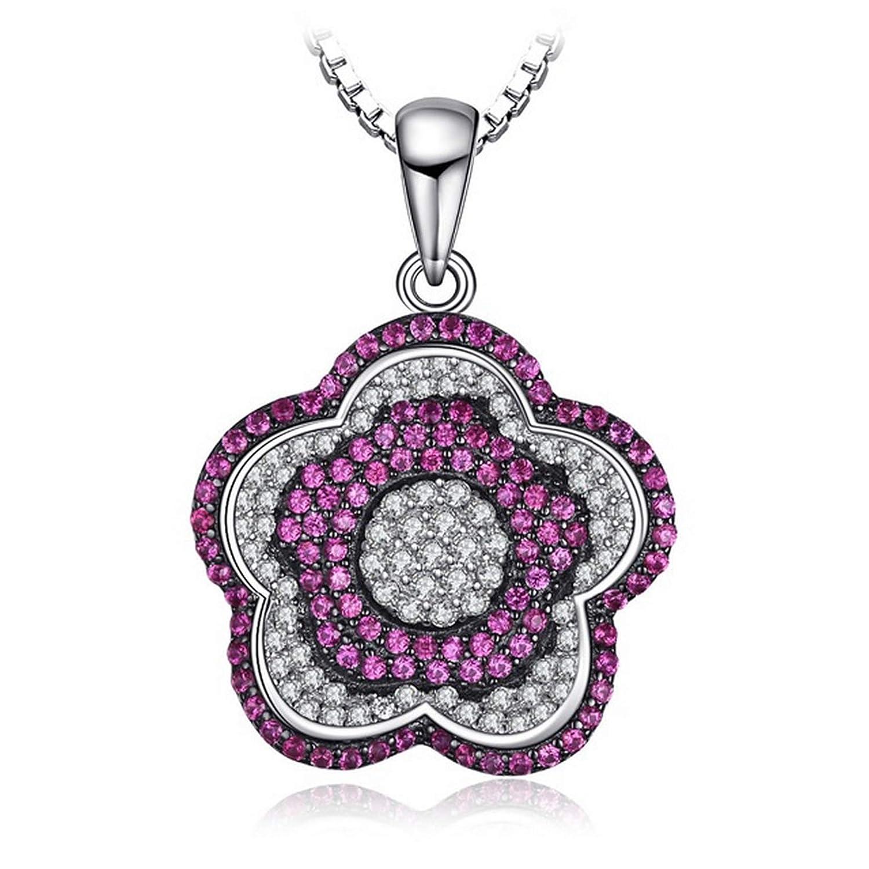 MMC Silver Necklaces Fashion 1.20ct Ruby Beauty Flower Womens Pendants