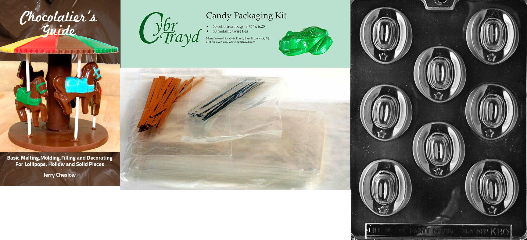 Cybrtrayd 'Cowboy Hats Kids' Chocolate Candy Mold with Chocolatier's Bundle of 50 Cello Bags, 25 Gold and 25 Silver Twist Ties and Chocolate Molding Instructions