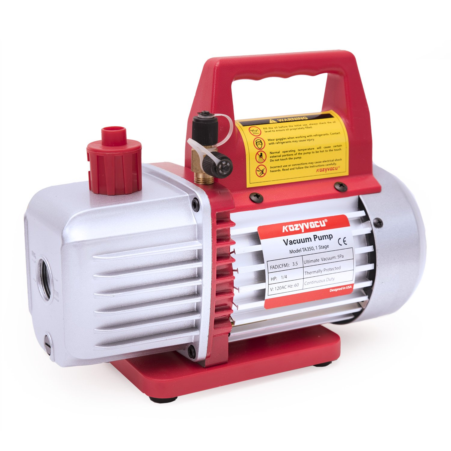Kozyvacu 3.5CFM 1-Stage Rotary Vane Vacuum Pump (3.5CFM, 150Micron, 1/4HP) for HVAC/Auto AC Refrigerant Recharging, Degassing wine or epoxy, Milking cow or lamb, Medical, Food Processing etc.