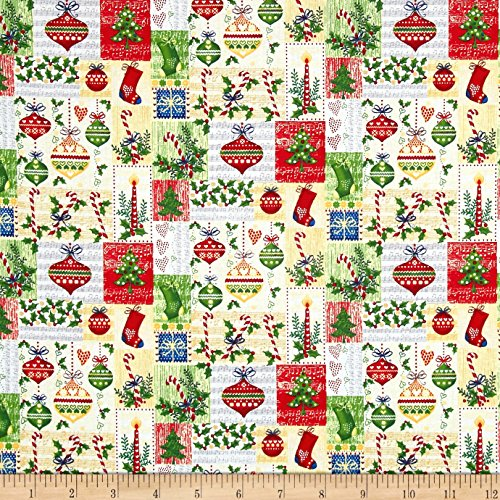(Fabri-Quilt Season's Greetings Ornaments Multi Fabric by The Yard Multicolor)