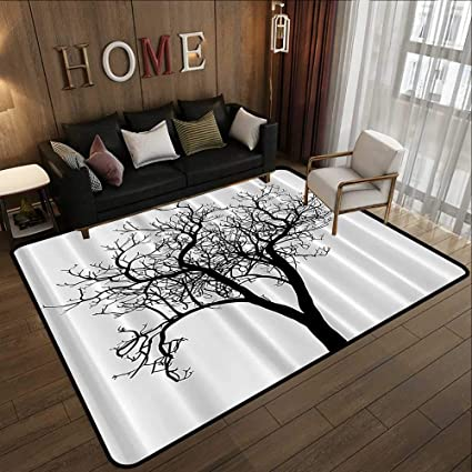 Amazon.com: Kitchen Rugs Non Skid,Lonely Tree Black and ...