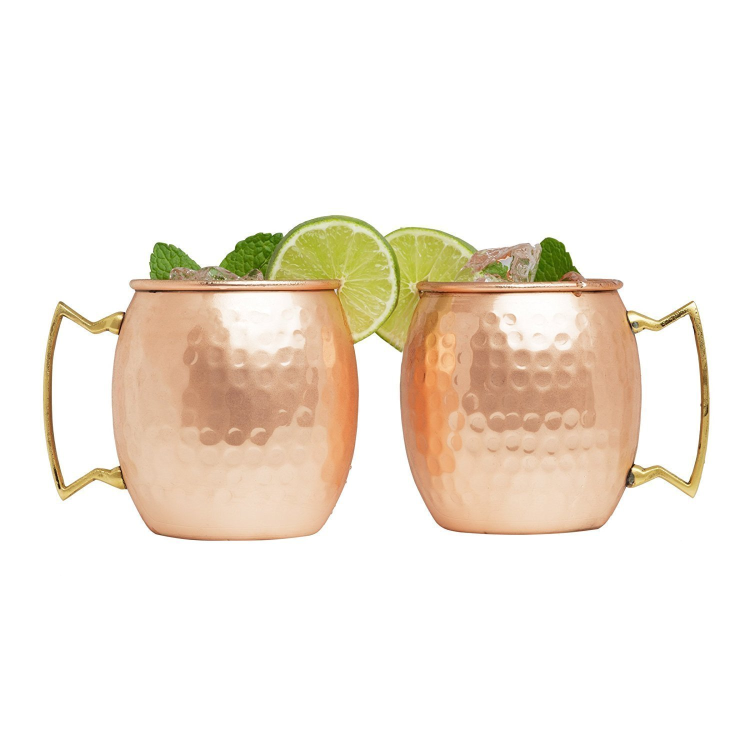 Set of 40 100% Pure Copper Moscow Mule Mugs By Advanced Mixology (16 oz each) with 40 Artisan Hand Crafted Wooden Coasters - Barrel With Brass Handle by Advanced Mixology (Image #3)