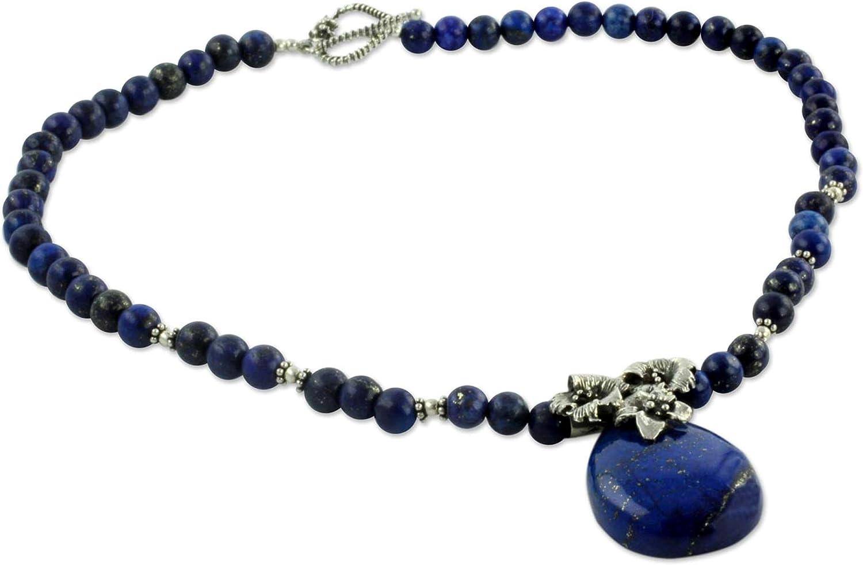 NOVICA Lapis Lazuli .925 Sterling Silver Pendant Necklace, 18