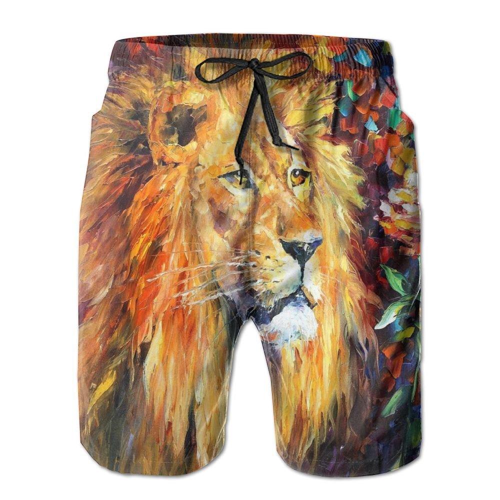 Tvsuh-u Watercolor Lion Mens Summer Beach Shorts Quick Dry Swimming Surf Trunk