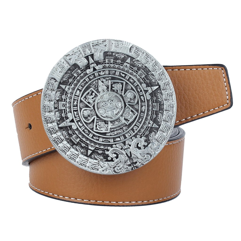 MagiDeal Ancient Aliens Mayan Solar Calendar Men's Jeans Leather Belt Buckle non-brand