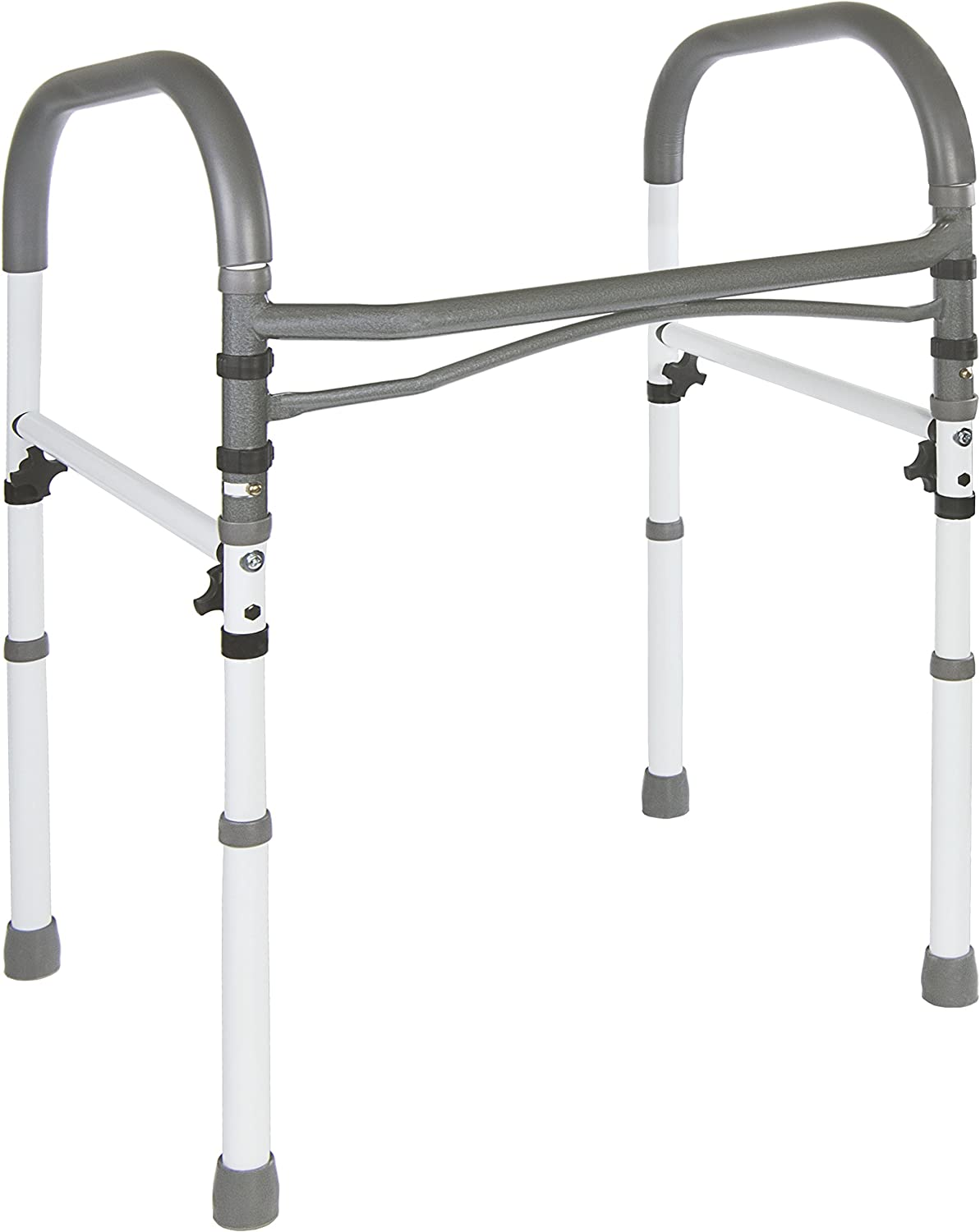 Vaunn Deluxe Bathroom Safety Toilet Rail - Adjustable Toilet Safety Frame - Medical Handrail Assist Grab bar Handle, Gray: Health & Personal Care