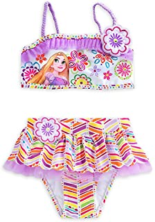 a90b5f6e45 Disney Store Little Girls  Rapunzel Glitter Accents Deluxe Swimsuit -  2-Piece