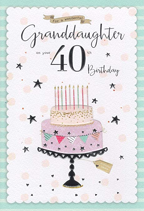 Icg Granddaughter 40th Birthday Card Pale Birthday Cake Silver