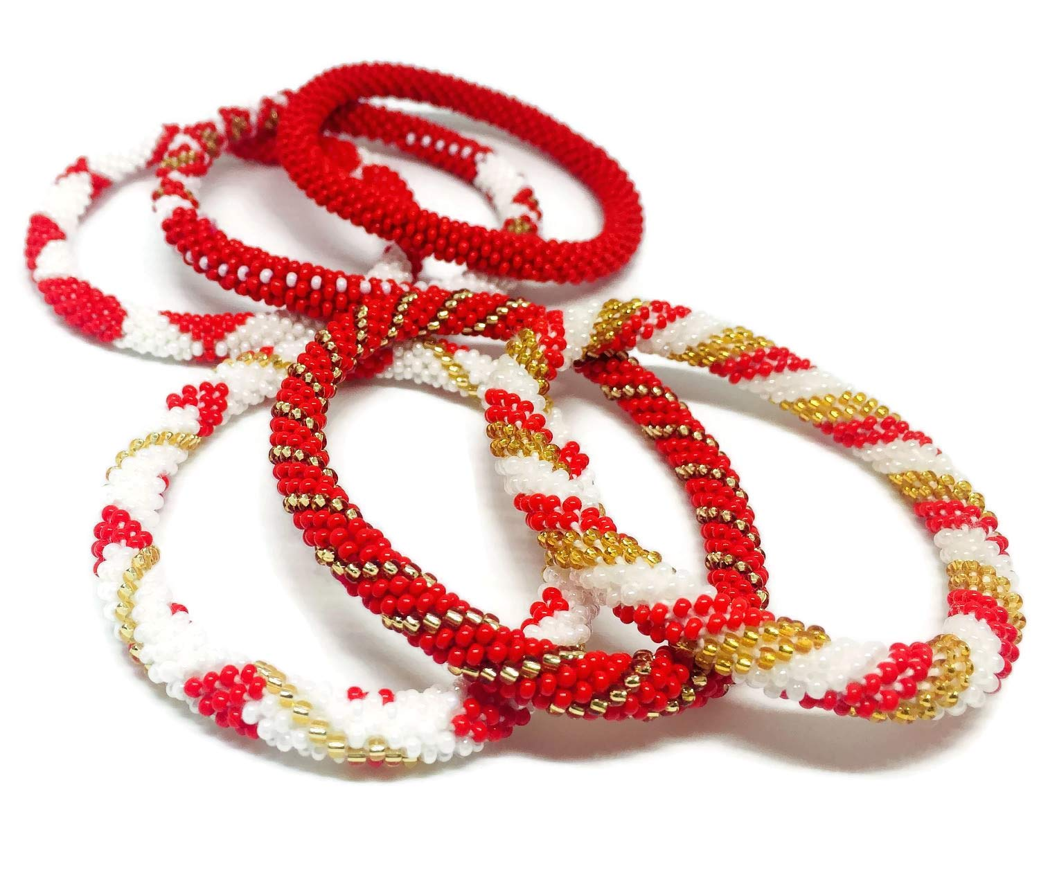 Kissed Karma Nepalese Roll on Hand Beaded Glass Seed Bead Bracelet. 6 Pcs Set. Premium Red Color Mix. (Red) by Kissed Karma (Image #2)