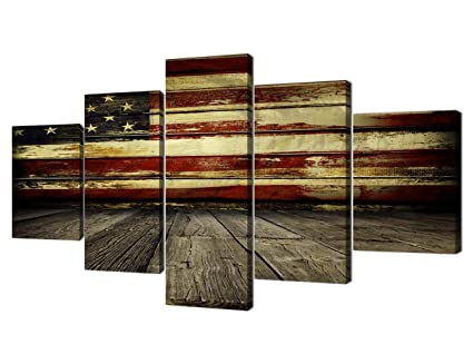 Wall Decor For Living Room Wooden Flag Wall Pictures Canvas Retro Vintage American Flag Modern Painting 5pcs Framed Posters Prints Gallery Wrap