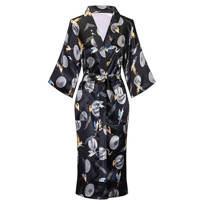 Amazon.com: Kimono largo de satén con estampado floral para ...