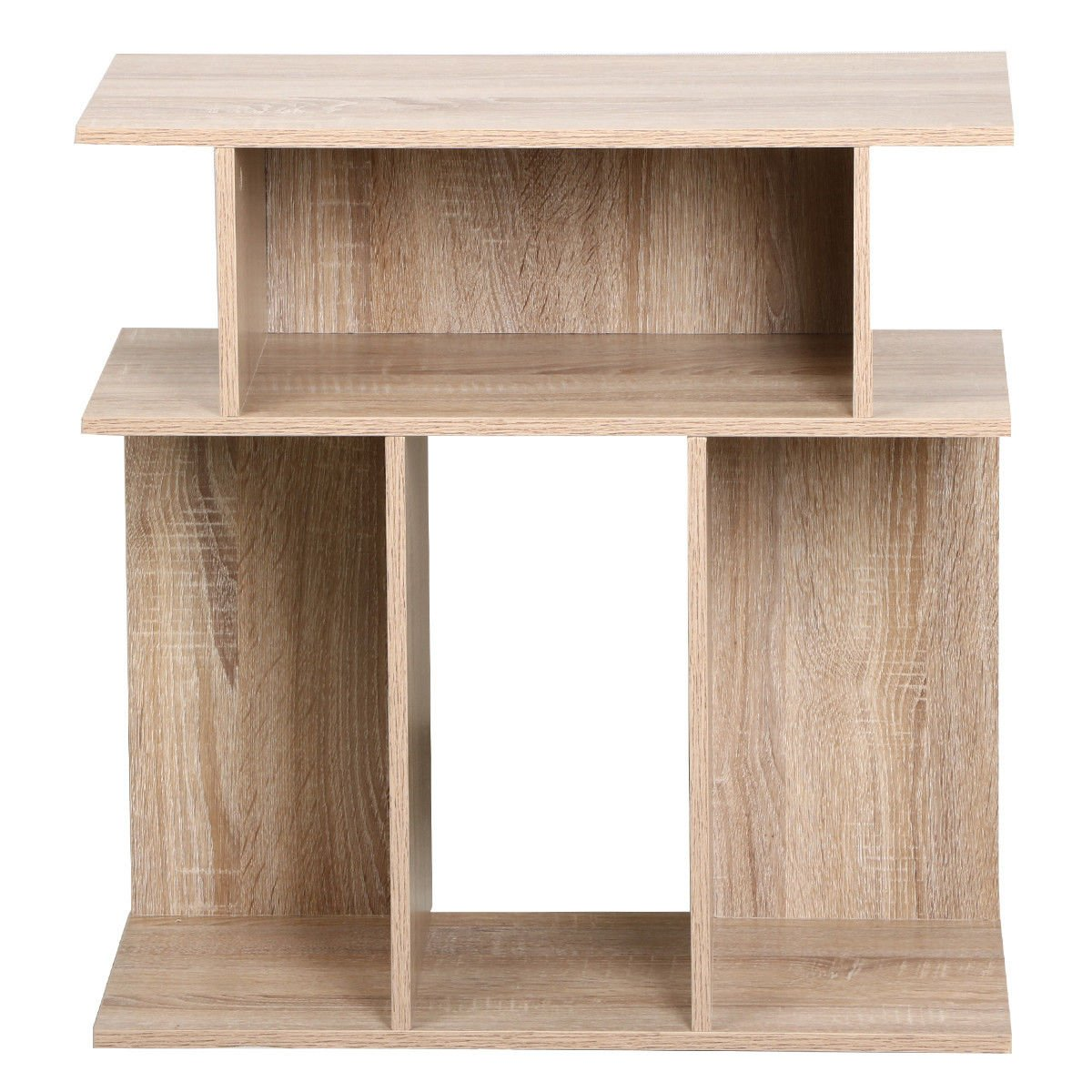 Eight24hours Rustice Accent Side Table Book Storage Display Shelves Sofa End Console Table - Oak