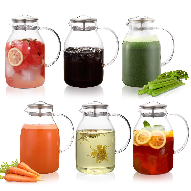 Amazon.com: Hiware jarra de vidrio de 68 onzas con tapa y ...