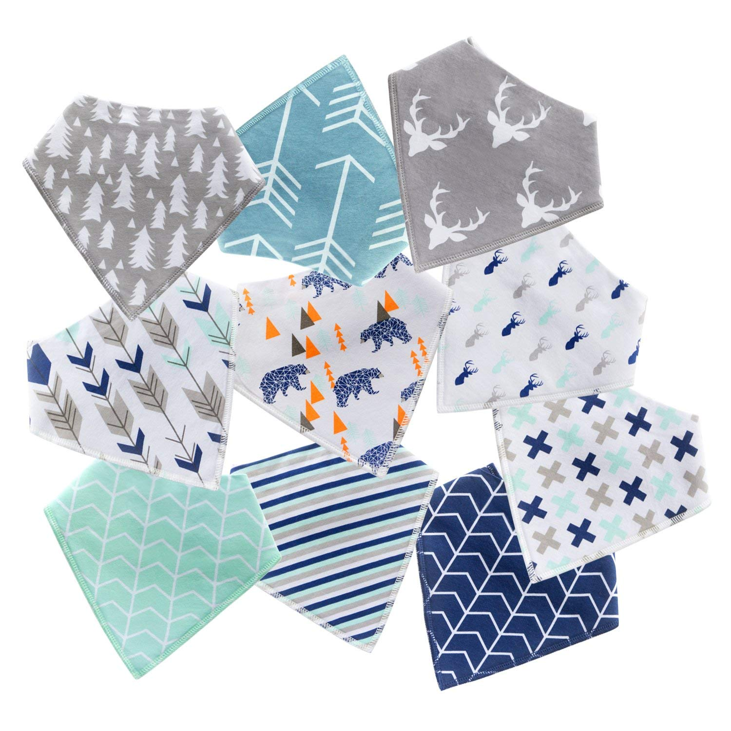 10 Pack Dribble Drool Bibs with Snaps Baby Shower Gift Set for Teething and Drooling Super Absorbent Cotton Feeding Bibs for Newborns Boys Infants Toddlers LEONNAGAR Baby Bandana Bibs