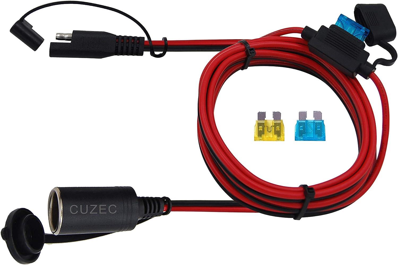 CUZEC 6FT1.8m 16AWG SAE to Plug Socket Adapter Plug Socket with SAE Connector (CU10410B)
