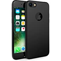 Egotude Soft Silicone Simple Slim Ultra Thin Back Cover Case for iPhone 7 (Black)