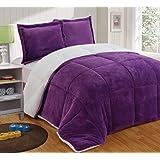 Chezmoi Collection 3-piece Micromink Sherpa Reversible Down Alternative Comforter Set (Queen, Purple)