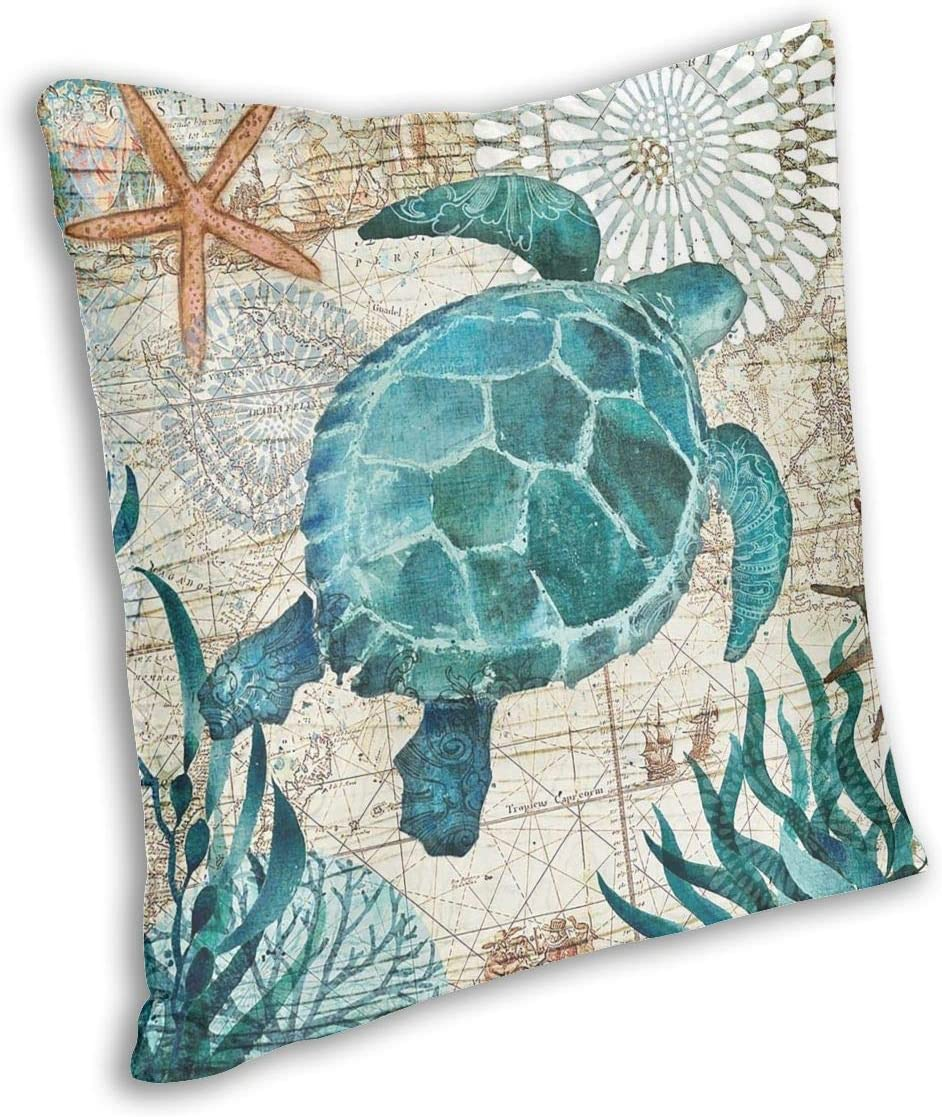 "18/"" Sea Turtle Pattern Cotton Linen Taie d/'oreiller Throw Cushion Cover Home Décor"