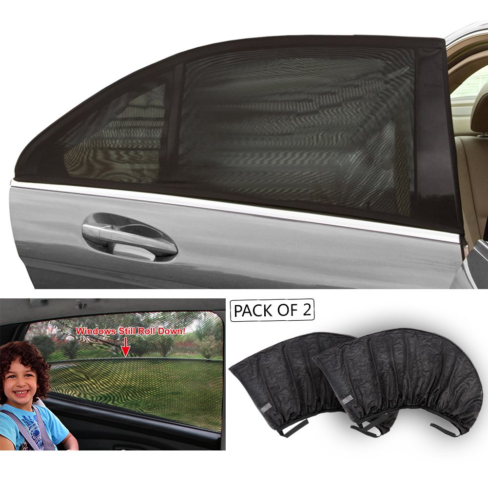 TIROL Black Mesh UV Protection Car Window Rear\Side Window Sun Shades For Family Outdoor XL:126x52CM (2 piece) FBA_T11724-XL