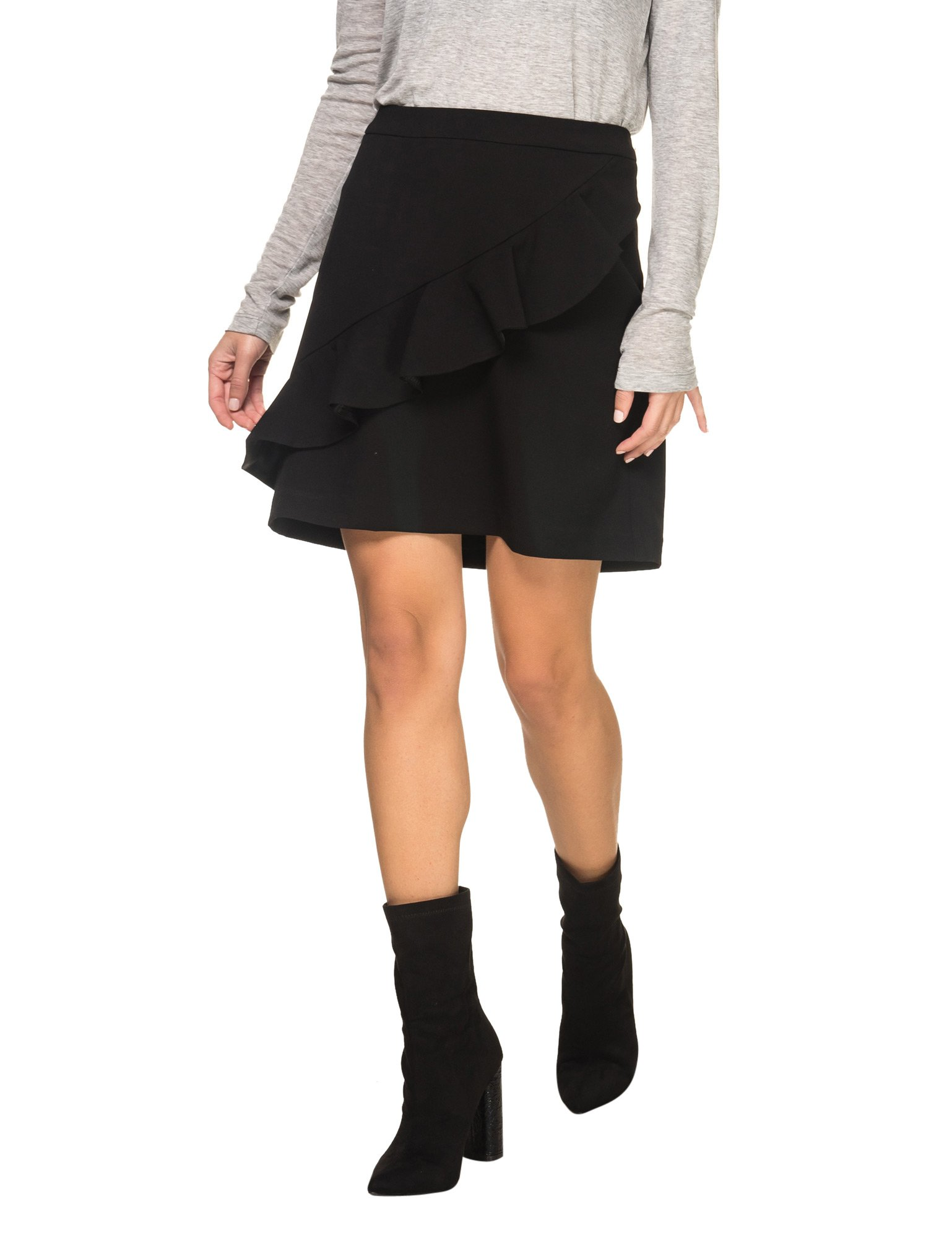 B.YOUNG Women's Danali Women's Black Skirt With Ruffles In Size 36-S Black