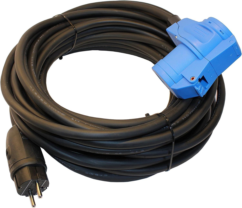 netbote24/® Adapterkabel Schutzkontakt Gummistecker IP44 auf CEE-Winkelkupplung mit integrierter Schutzkontaktsteckdose 16A H07RN-F 3G 1,5mm/² 35m