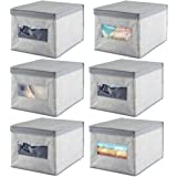 mDesign Soft Fabric Stackable Closet Storage Organizer Holder Box Bin with Clear Window, Attached Hinged Lid - Bedroom…